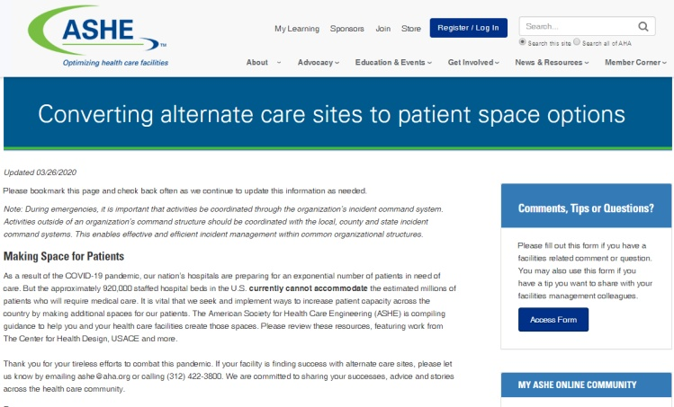 Converting alternate care sites to patient space options
